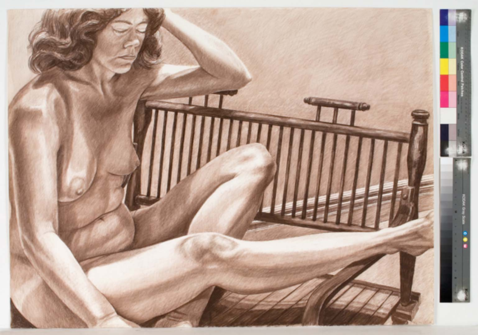"1983 Model with Leg Extended on Wooden Bench Conte Crayon 30"" x 40"""