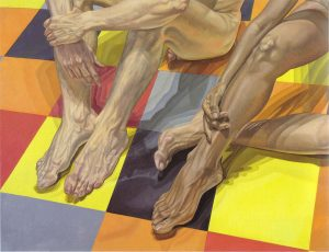 1984 Hands and Feet and Linoleum Oil on Canvas 52 x 67.5
