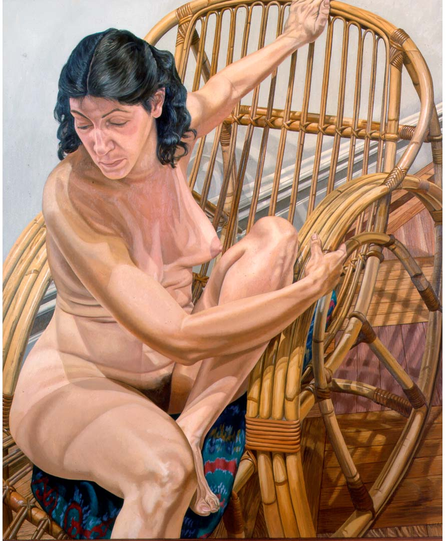 1984 Model Seated on Rattan Lounge Oil on Canvas Dimensions Unknown