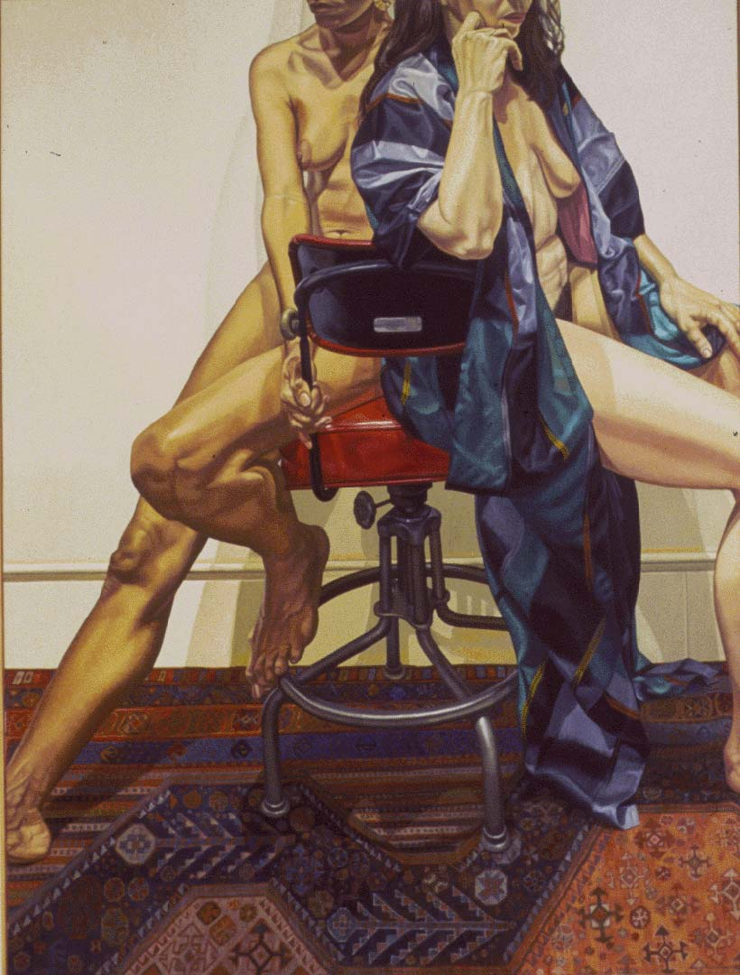 1984 Two Models on Red Office Swivel Chair Oil on Canvas Dimensions Unknown