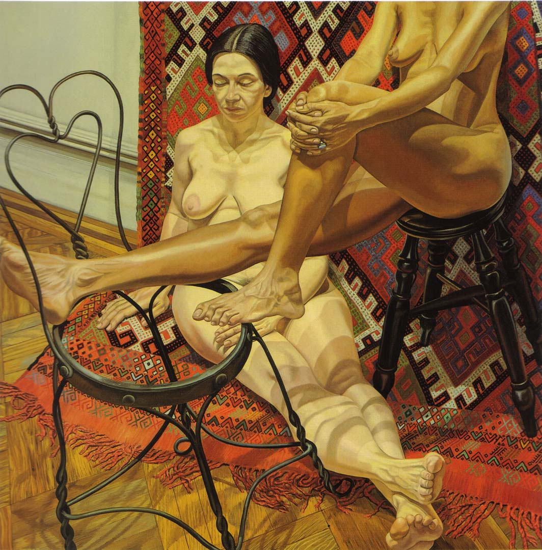 "1984 Two Models with Bent Wire Chair and Kilm Rug Oil on Canvas 72"" x 72"""