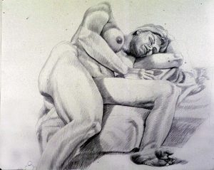 1986 Female Model Reclining on Floor Pencil 30 x 40