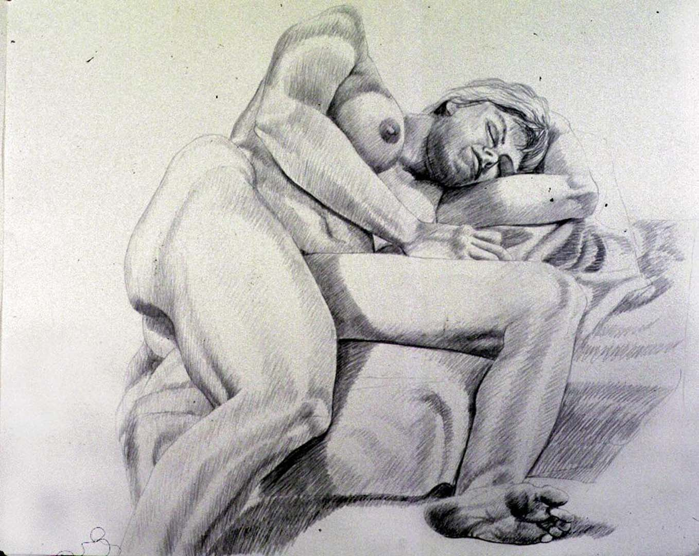 "1986 Female Model Reclining on Floor Pencil 30"" x 40"""