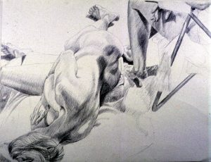 1986 Female Model Reclining with Leg of Other Pencil 30 x 40