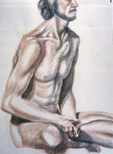 1986 Male Model in Meditation Pose Conte Crayon 26 x 19