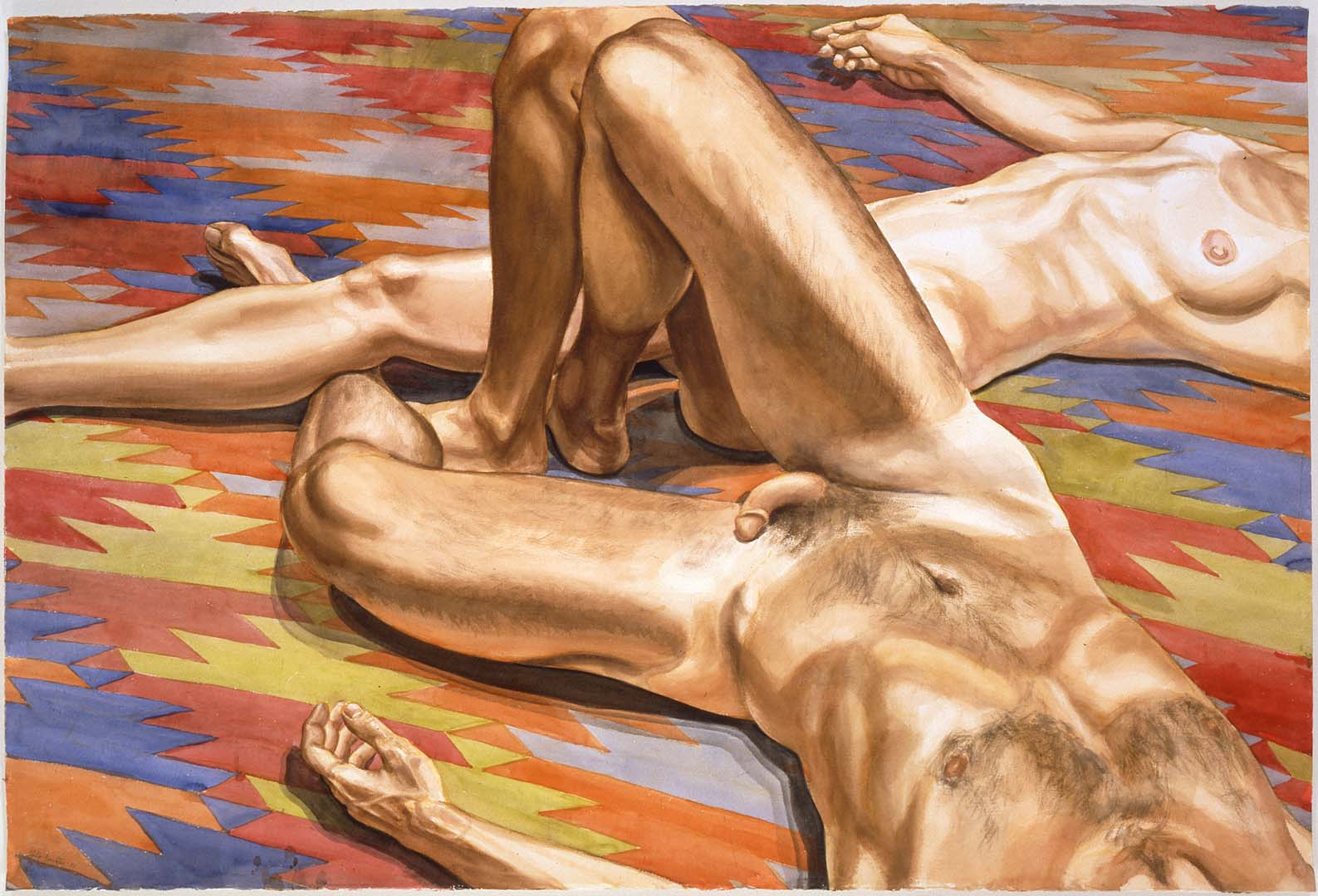 """1986 Male and Female Models on Afghanistan Rug Watercolor on Paper 40"""" x 59.5"""""""
