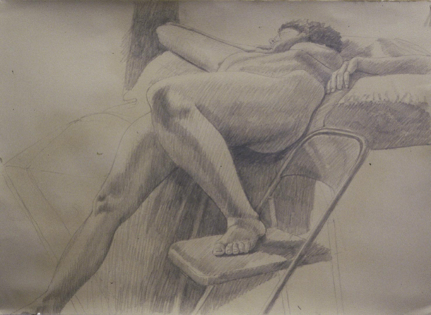 "1986 Model Reclining with One Foot on a Folding Chair Pencil 22.125"" x 30.5"""