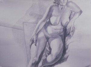 1986 Model on Steps Pencil 30 x 40