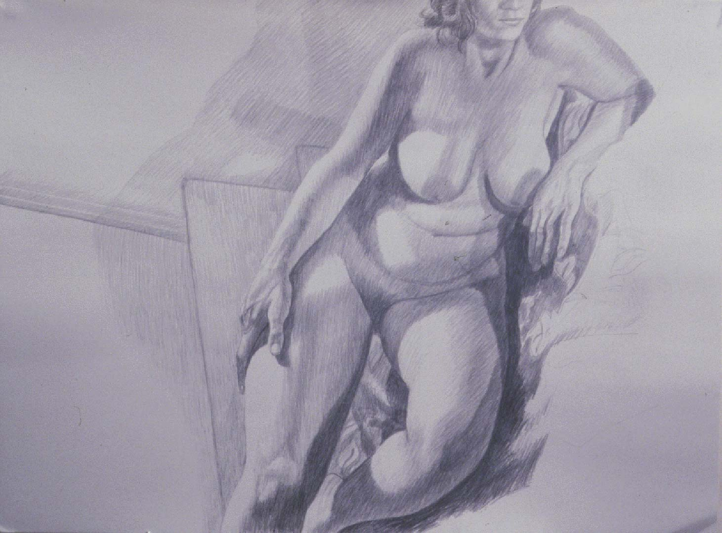 "1986 Model on Steps Pencil 30"" x 40"""