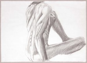 1986 Seated Male from Back Graphite 19.125 x 26.25