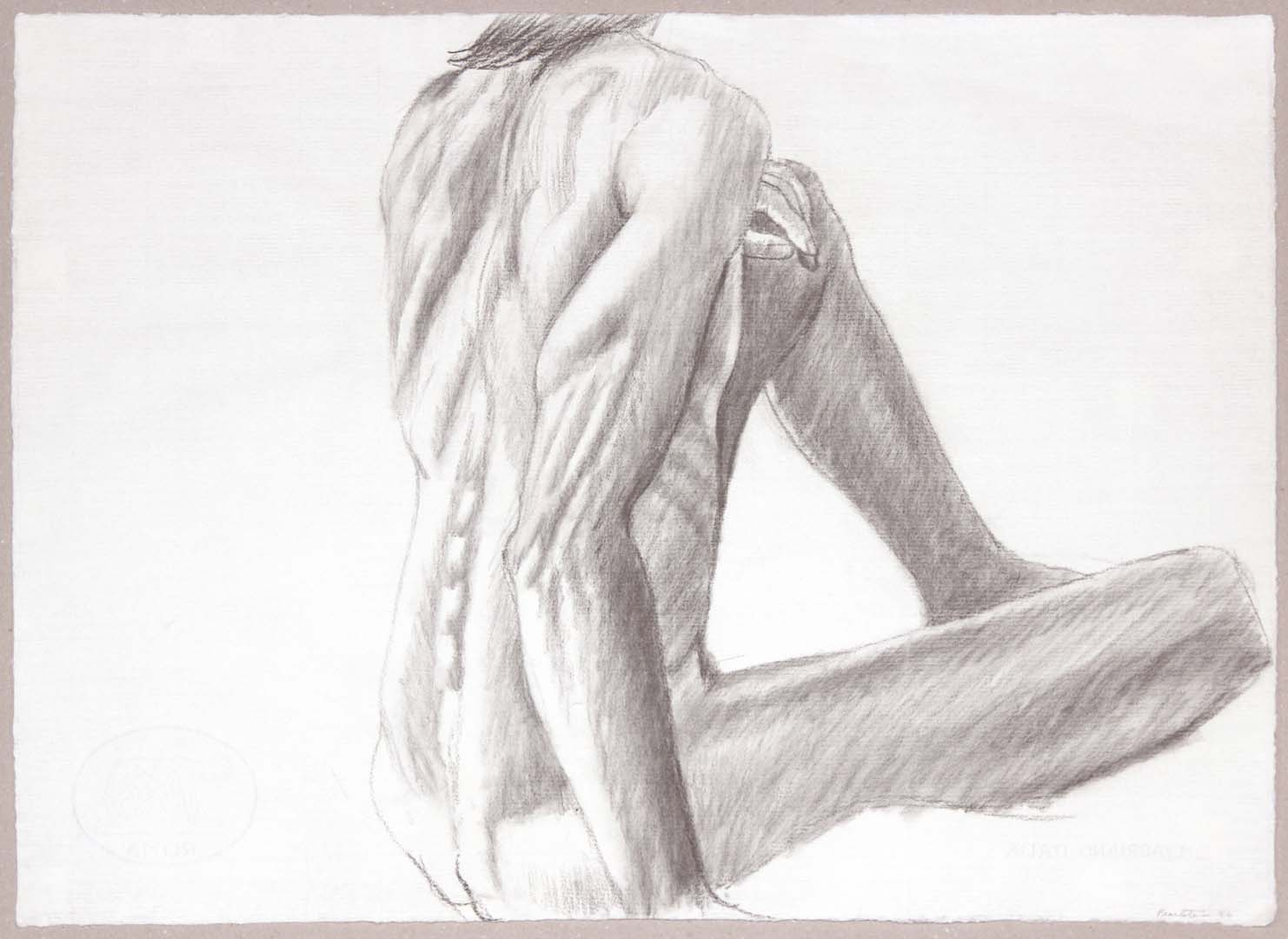"1986 Seated Male from Back Graphite 19.125"" x 26.25"""