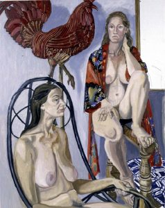 1986 Two Models with Red Rooster Weathervane Oil on Canvas 48 x 60