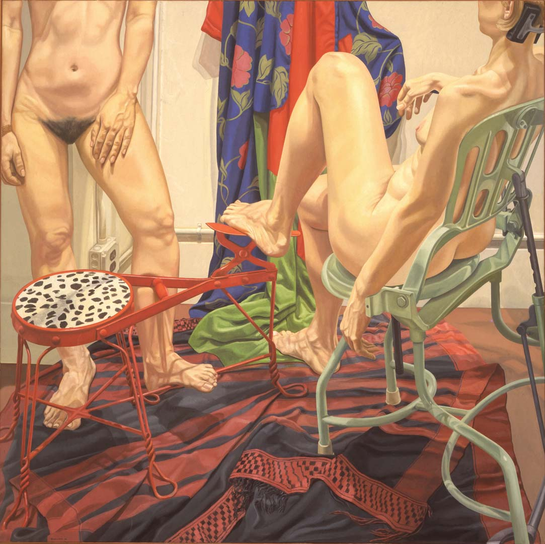 "1986 Two Models with Shoeshine Stool and Examination Chair Oil on Canvas 72"" x 72"""