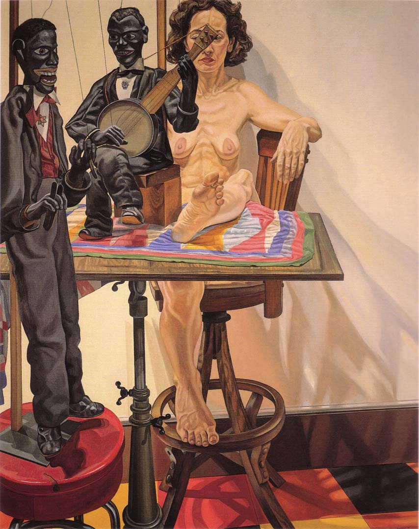 "1987 Two Minstrel Marionettes and Model Oil on Canvas 76"" x 60"""
