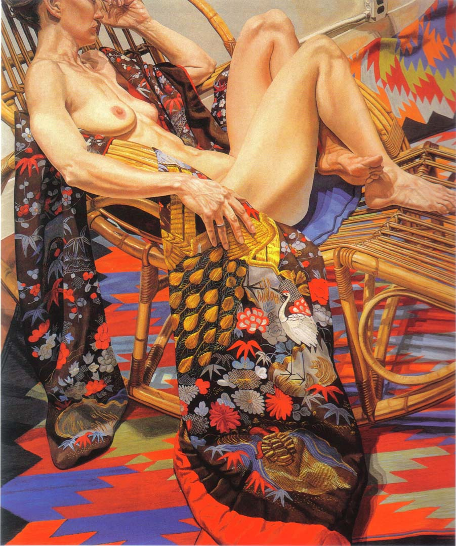 "1988 Nude with Peacock Kimono Oil on Canvas 72"" x 60"""