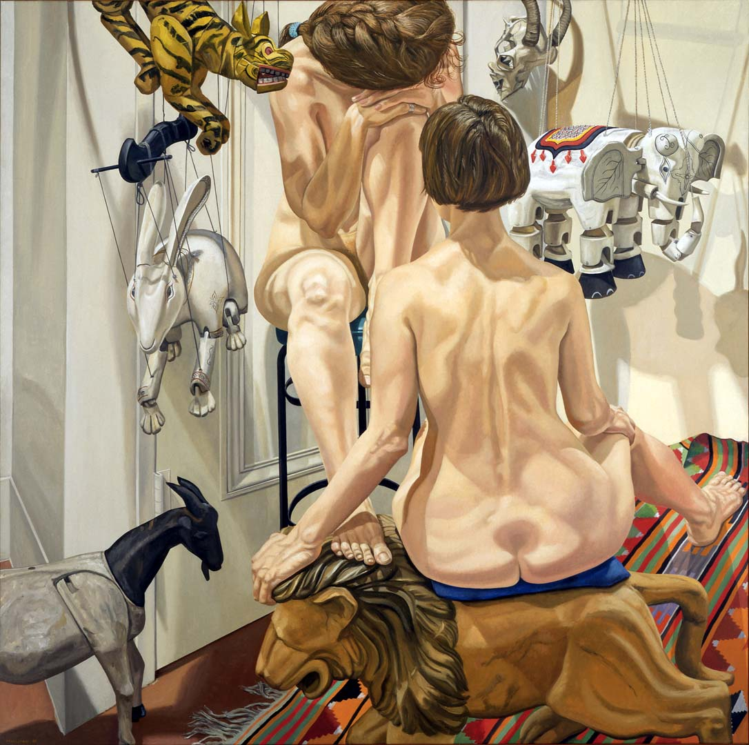 1988 Two Nudes with Animal Marionettes Oil on Canvas 72 x 72