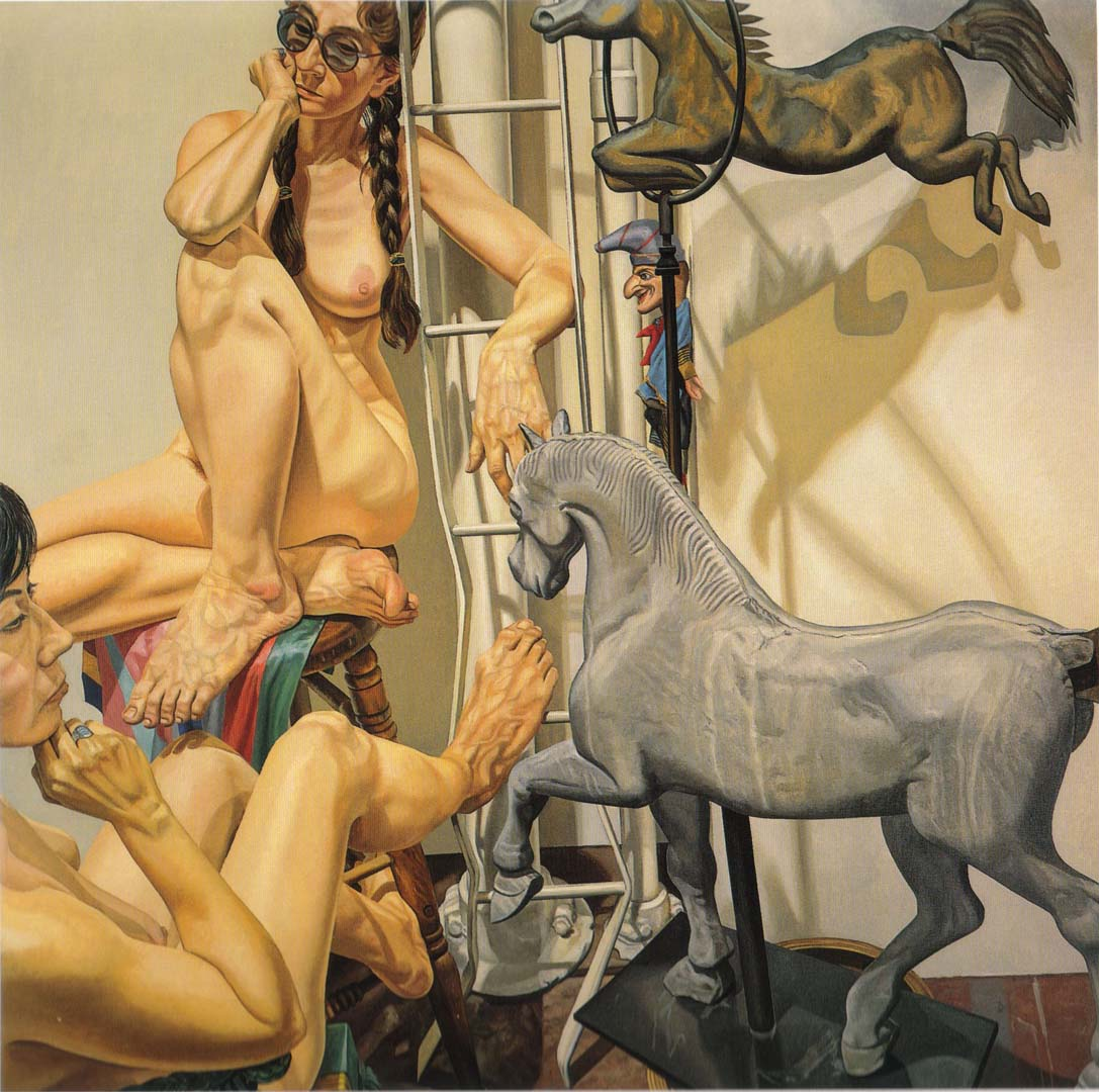 "1988 Two Nudes with Horse Weathervanes and Punch Oil on Canvas 72"" x 72"""