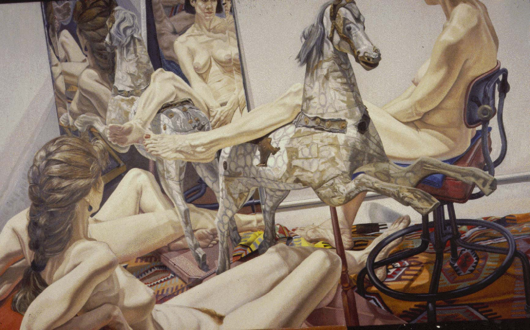 "1989 Nudes with Hobby Horse and Mirror Oil on Canvas 60"" x 96"""