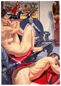 1990 Male and Female Models with Circus Poster and Bambino Oil on Canvas 84 x 60