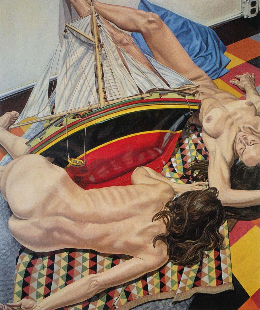 "1990 Models with Model Ship Oil on Canvas 72"" x 60"""
