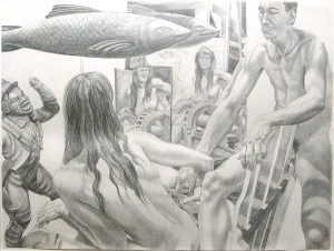 """1990 Study for Two Models with Two Mirrors and Fish Pencil 30"""" x 40"""""""