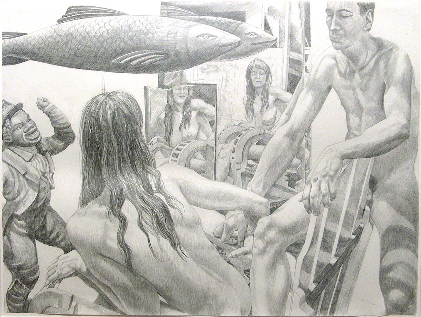 "1990 Study for Two Models with Two Mirrors and Fish Pencil 30"" x 40"""