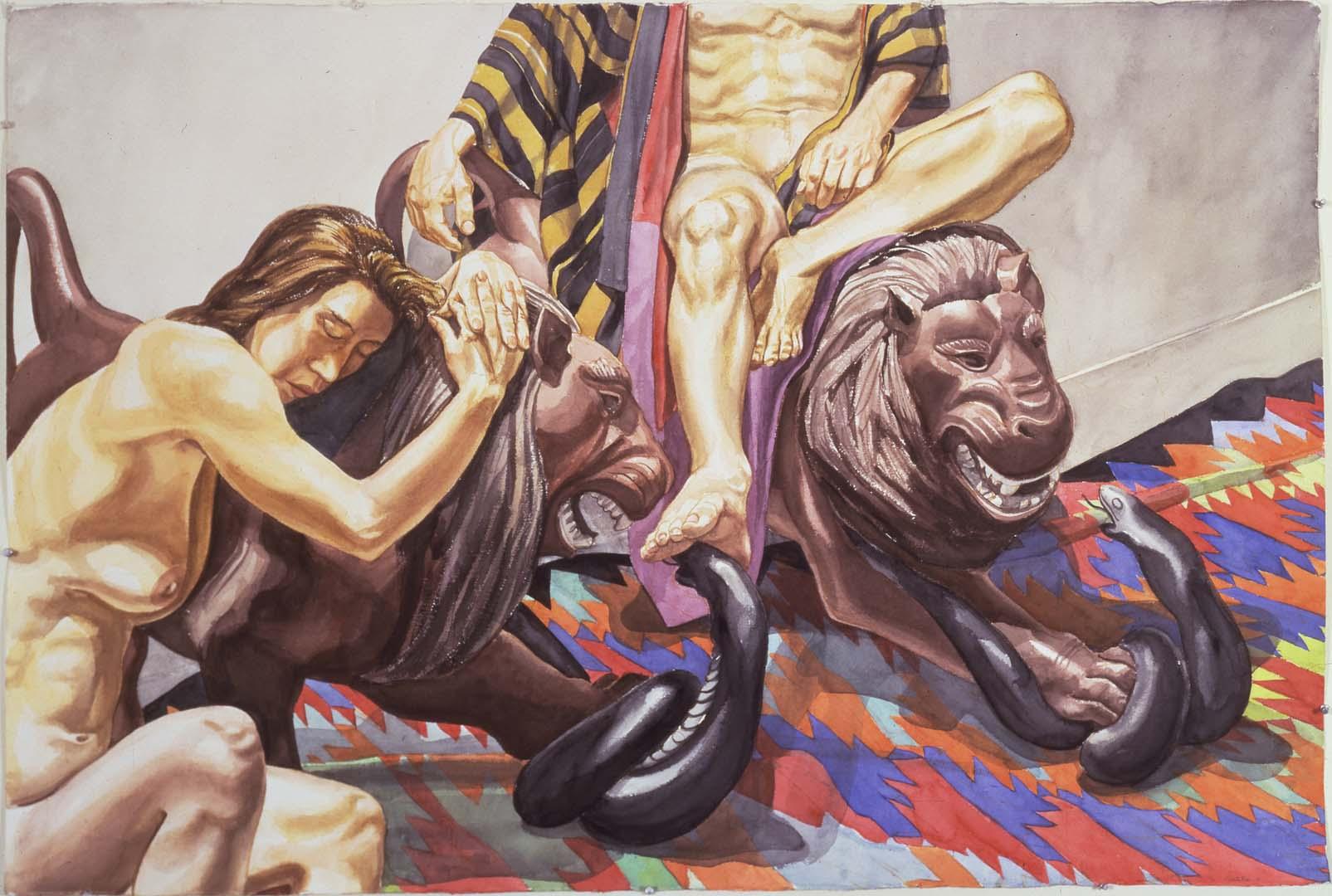1991 Luna Park Lions Watercolor on Paper 40 x 60