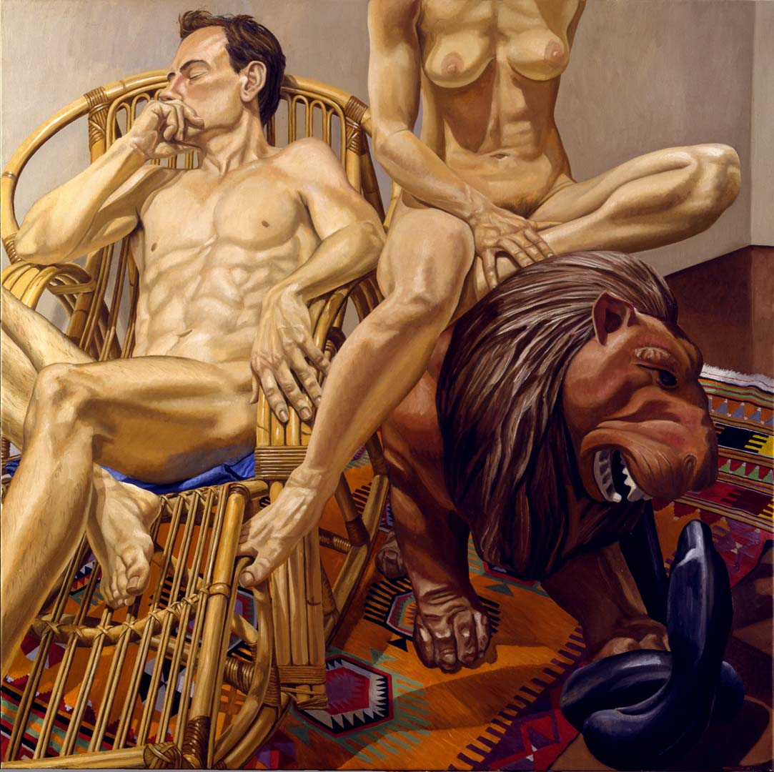 "1991 Male and Female Nudes with Luna Park Lion and Bamboo Chair Oil on Canvas 60"" x 60"""