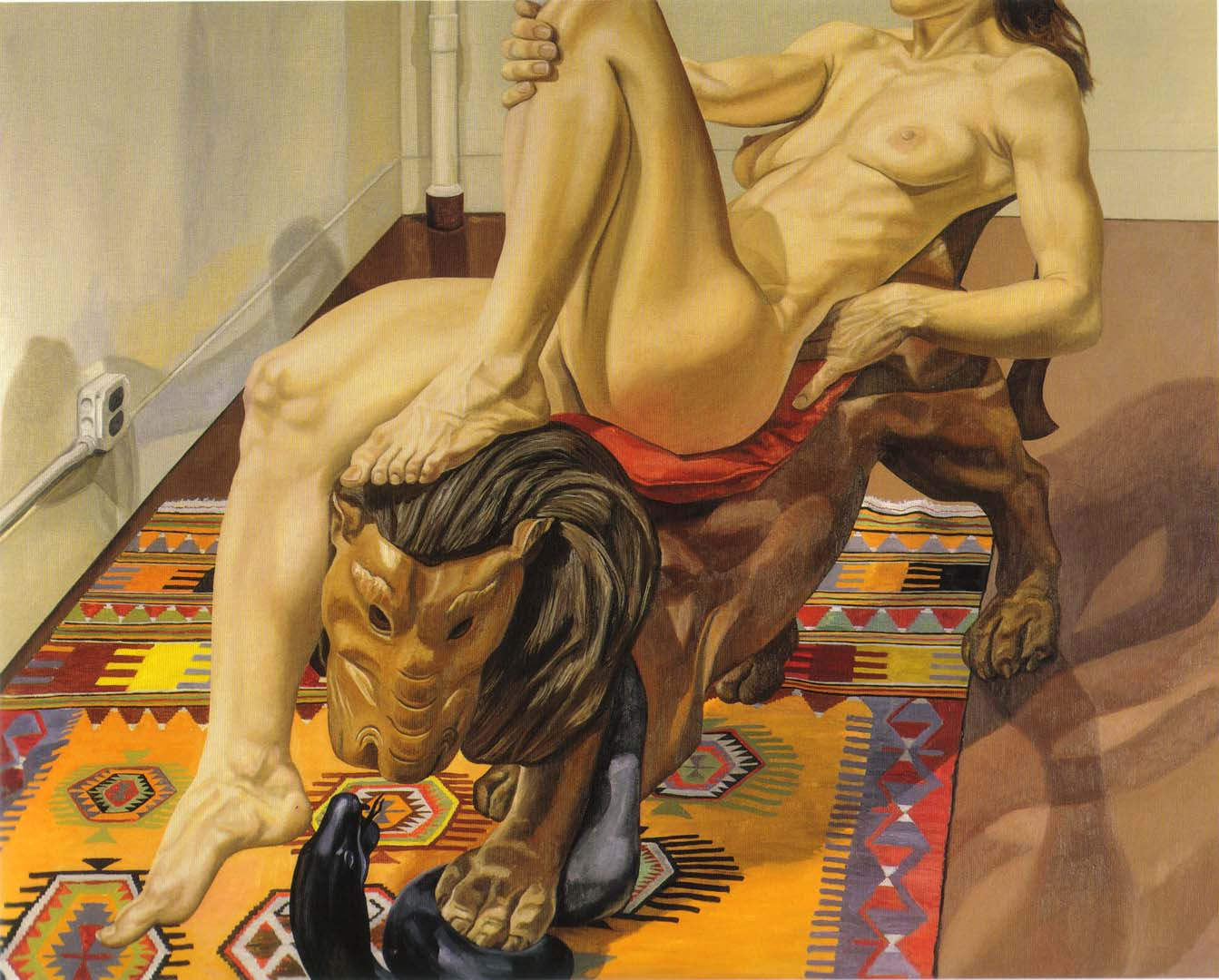 1991 Nude Reclining on Luna Park Lion Oil on Canvas 48 x 60