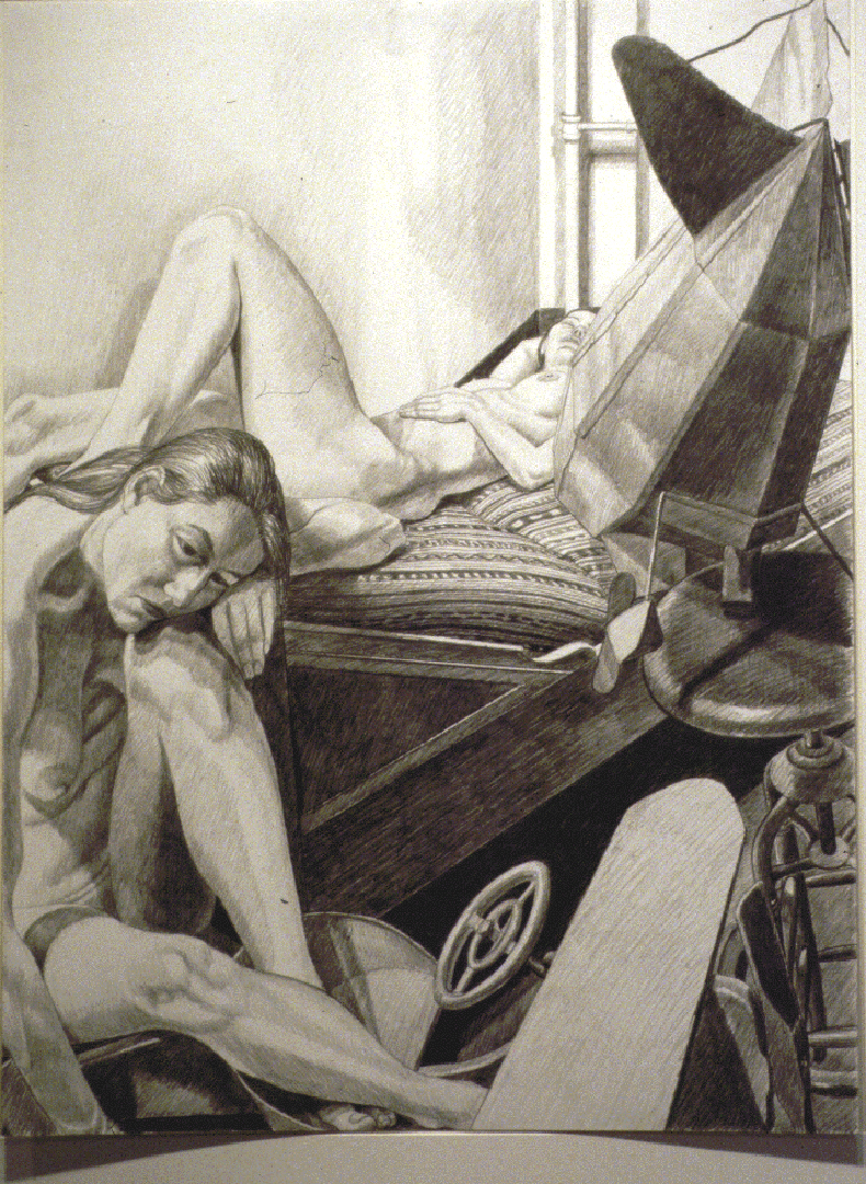 """1991 Two Models with Dirigible and Kiddie Car Pencil 40"""" x 30"""""""