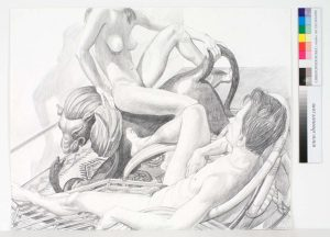 1991 Two Models with Recliner and Lion Pencil 23 x 29