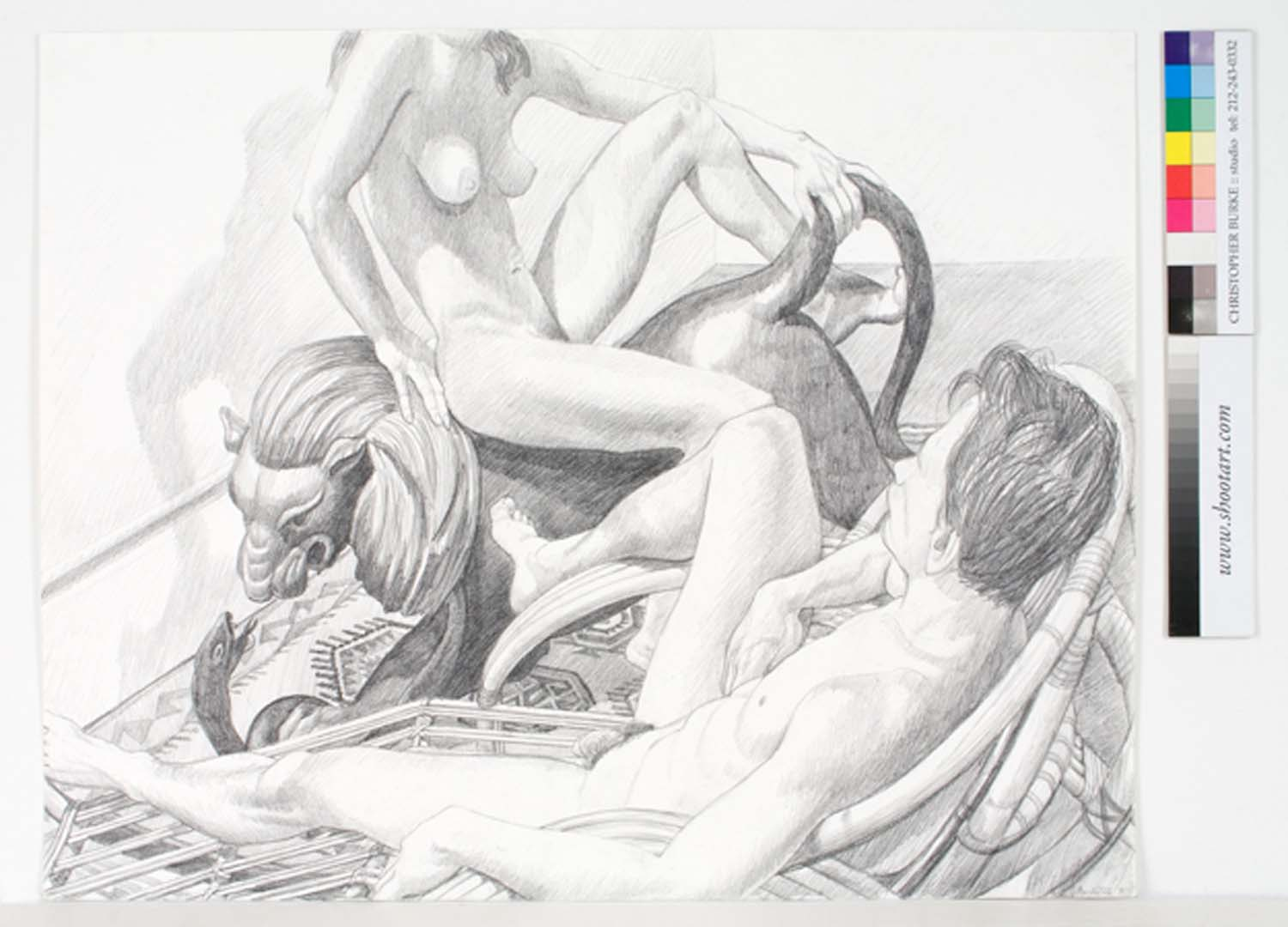 "1991 Two Models with Recliner and Lion Pencil 23"" x 29"""