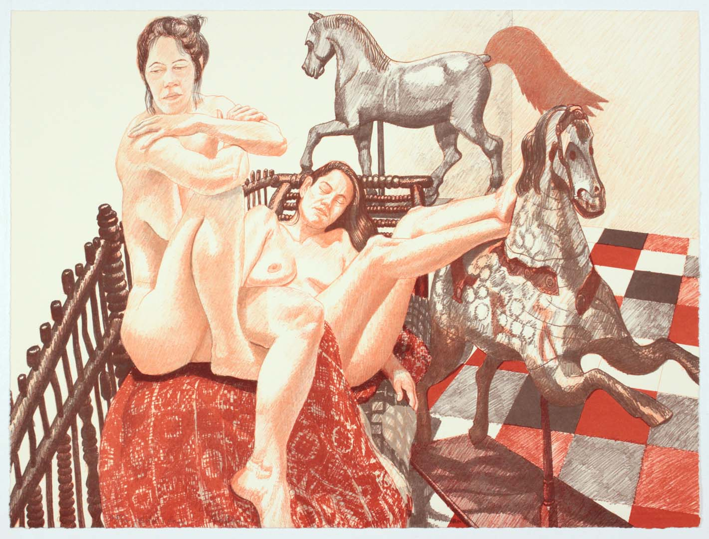 "1992 Models and Horses Lithograph on Paper 20.5"" x 28"""