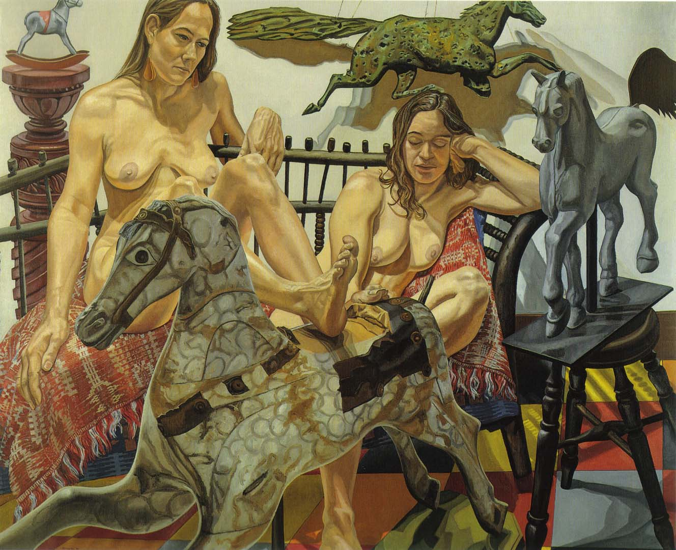 "1992 Models with Folk Art Horses Oil on Canvas 60"" x 74"""