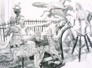 "1992 Study for Models with Folk Art Horses Pencil 26"" x 30"""