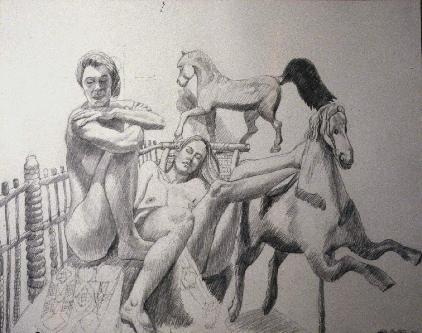 1992 Two Models with Folk Art Horses Pencil 26 x 30