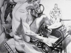 1993 Man and Superman Graphite 30 x 41.5