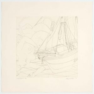 1993 Model Boat I Aquatint Etching on Paper 13 x 13