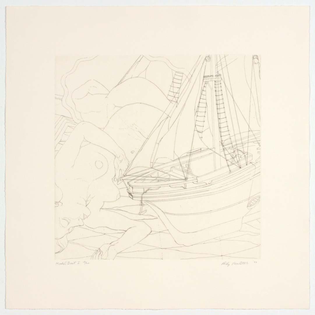"1993 Model Boat I Aquatint Etching on Paper 13"" x 13"""