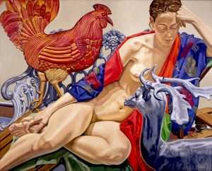 1993 Model with Rooster and Deer Oil on Canvas Dimensions Unknown