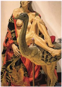 "1994 Japanese Robe and Carousel Ostrich Oil on Canvas 84"" x 60"""