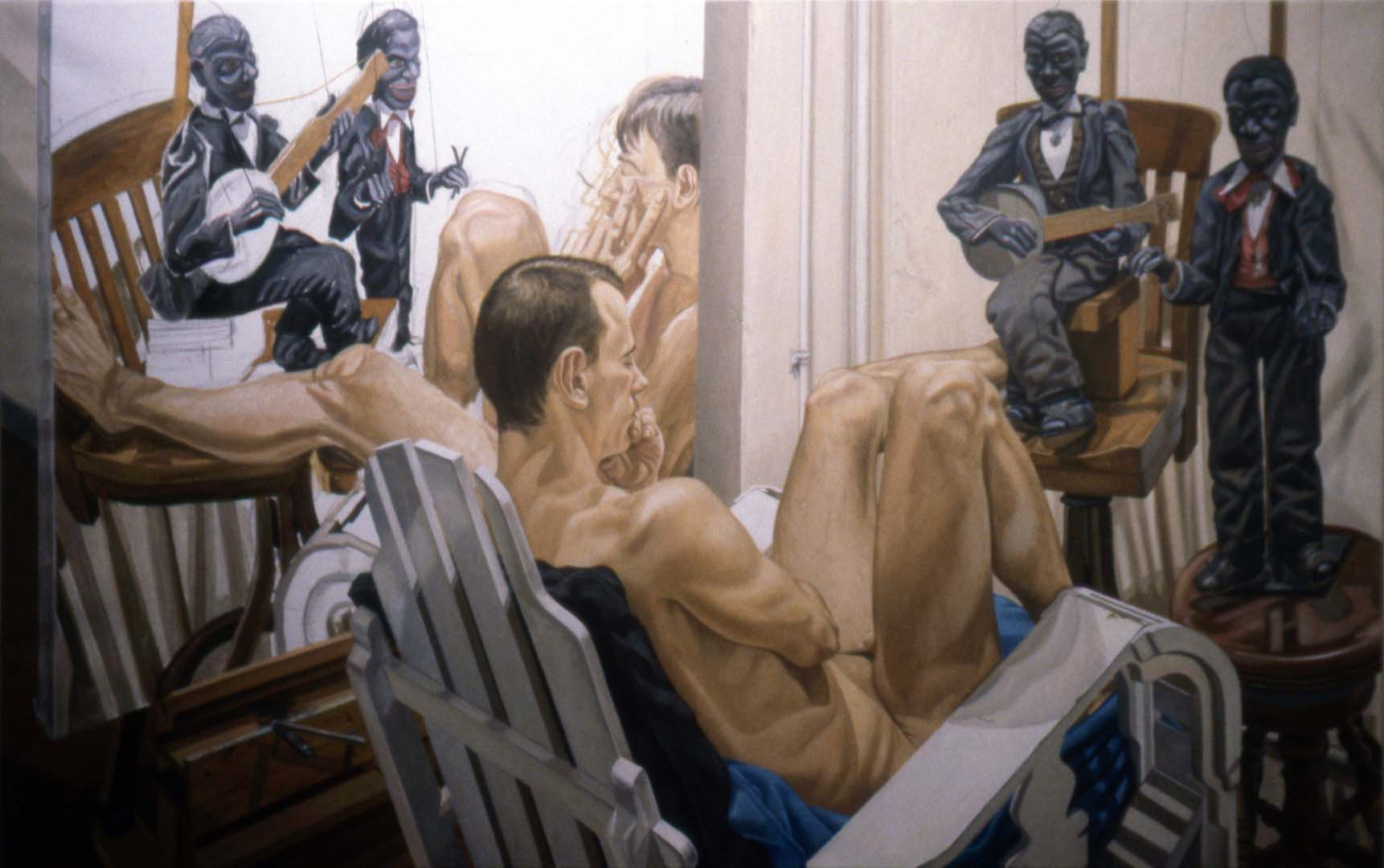 "1994 Male Model Minstrel Marionettes and Unfinished Paintings Oil on Canvas 60"" x 96"""