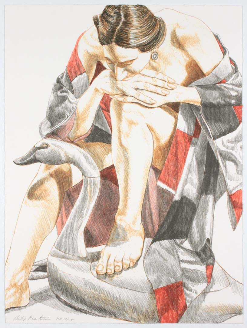 "1995 Model with Robe and Wooden Swan Lithograph on Paper 24"" x 18"""