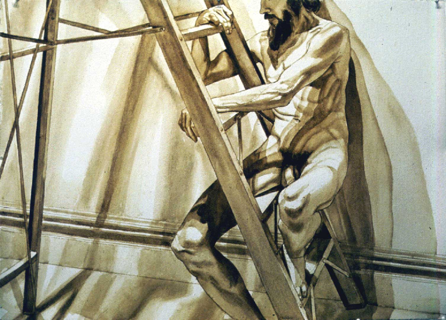 "1996 Male Model on Ladder Sepia Wash 29.25"" x 41"""