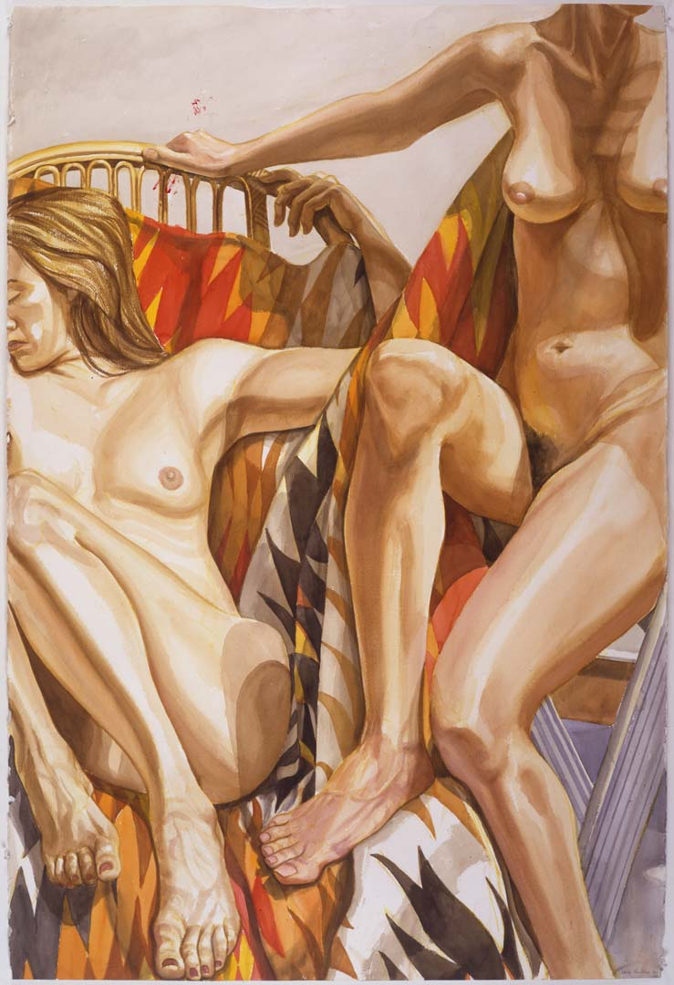 "1996 Two Nudes with Bamboo Lounge and Navajo Blanket Watercolor on Paper 60"" x 40.25"""