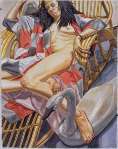 1997 Nude on Bamboo Chaise with Swan Decoy Watercolor on Paper 60 x 40.25