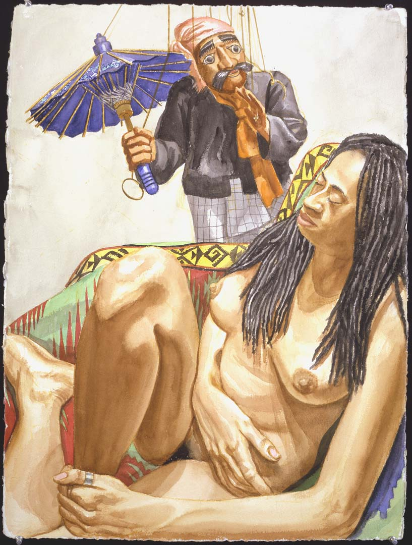 1998 Model with Dreadlocks and Burmese Puppet with Umbrella Watercolor on Paper 30.25 x 22.375