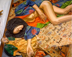 1998 Model with Horse Patterned Rug and Burmese Marionette Oil on Canvas 48 x 60
