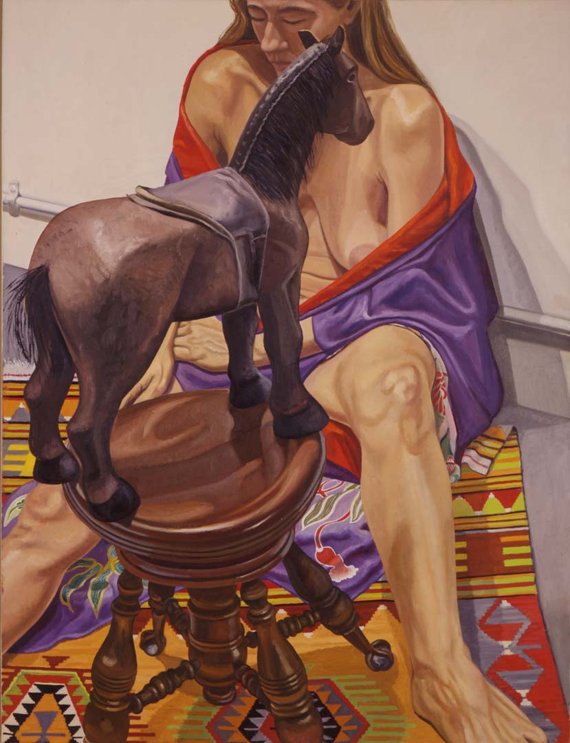 "1998 Nude in Kimono with Folk Art Horse on Piano Stool Oil on Canvas 48"" x 36"""