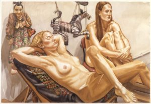 1998 Study for Two Models with Zebra Marionette and Woman Marionette Watercolor on Paper 40 x 60